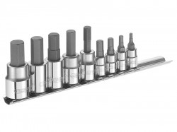Britool Expert Hex Bit Socket Set of 9 1/4 & 3/8in Drive