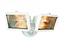 Byron ES120/2W Twin Halogen Floodlight with PIR White 150 Watt