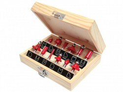 Faithfull Router Bit Set of 12 TCT 1/4in Shank