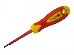Faithfull VDE Screwdriver Soft-Grip Parallel Slotted Tip 3.5 x 100mm