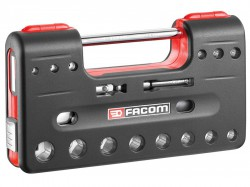 Facom 3/8in Square Drive 6-Point Detection Box Socket Set, 18 Piece