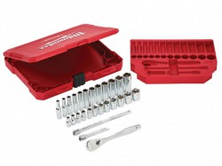 Milwaukee Hand Tools 1/4in Drive Ratcheting Socket Set Metric, 28 Piece