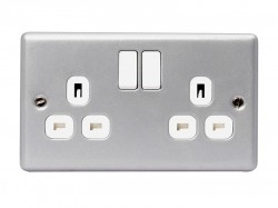 Masterplug Metal Clad Switched Socket 2-Gang 13A