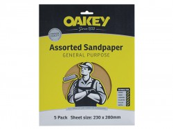 Oakey Glasspaper Sanding Sheets 230 x 280mm Coarse 50g (5)