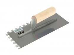 R.S.T. Notched Trowel Square 10mm² Wooden Handle 11in x 4.1/2in