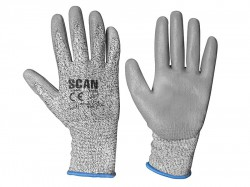 Scan Grey PU Coated Cut 3 Gloves - L (Size 9)