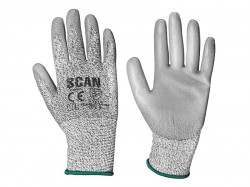 Scan Grey PU Coated Cut 3 Gloves - M (Size 8)