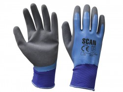 Scan Waterproof Latex Gloves - L (Size 9)
