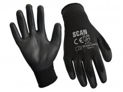 Scan Black PU Coated Gloves - L (Size 9) (12 Pairs)