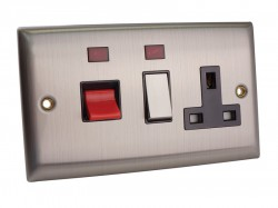 SMJ Switched Cooker Control Unit Neon 45A 1-Gang Brushed Steel