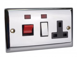 SMJ Switched Cooker Control Unit Neon 45A 1-Gang Chrome