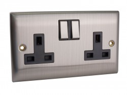 SMJ Switched Socket 2-Gang 13A Brushed Steel