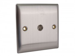 SMJ Coaxial TV Socket 1-Gang Brushed Steel