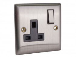 SMJ Switched Socket 1-Gang 13A Brushed Steel