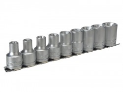 Teng M1210 Socket Clip Rail Set of 9 External Torx 1/2in Drive