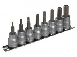 Teng M3811 Socket Clip Rail AF Hex Set of 8 3/8in Drive