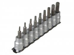 Teng M3813TX Socket Clip Rail Set of 9 External Torx 3/8in Drive