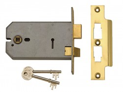 UNION 2077-5 3 Lever Horizontal Mortice Lock Polished Brass 124mm