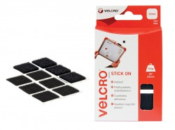 VELCRO® Brand VELCRO® Brand Stick On Squares 25mm Black Pack of 24
