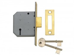 Yale Locks PM322 3 Lever Mortice Deadlock Polished Brass 65mm 2.5in