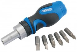 Stubby Ratchet Screwdriver and Bit Set (7 Piece)